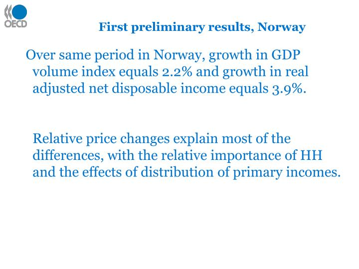 First preliminary results, Norway