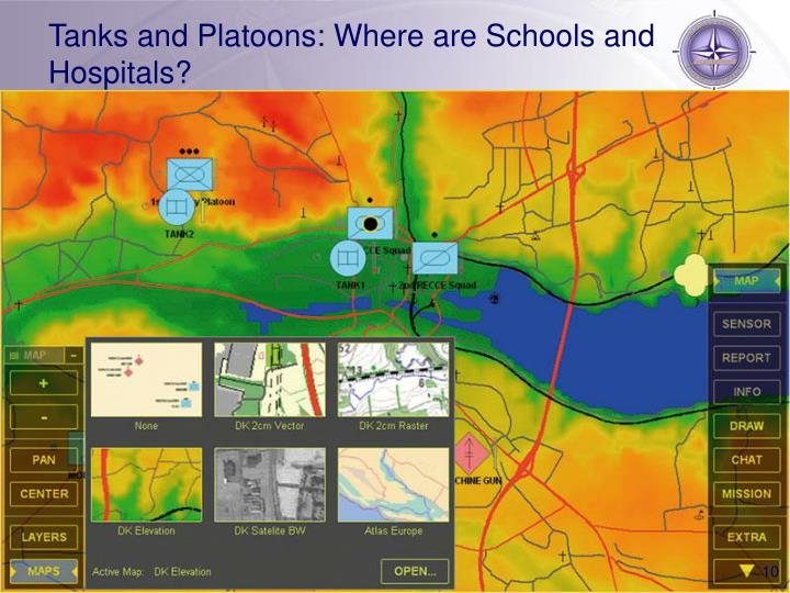 Tanks and Platoons: Where are Schools and Hospitals?