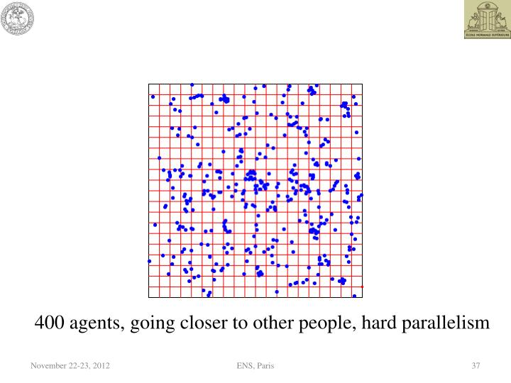 400 agents, going closer to other people, hard parallelism