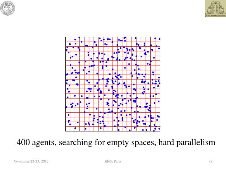 400 agents, searching for empty spaces, hard parallelism