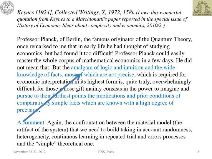 Keynes [1924], Collected Writings, X, 1972, 158n
