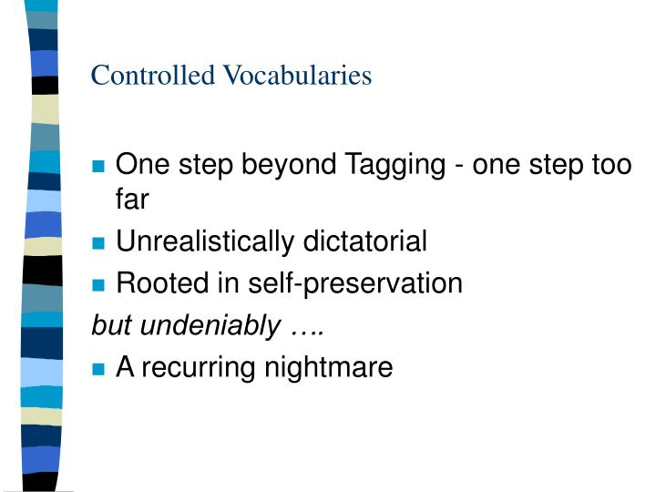 Controlled vocabularies