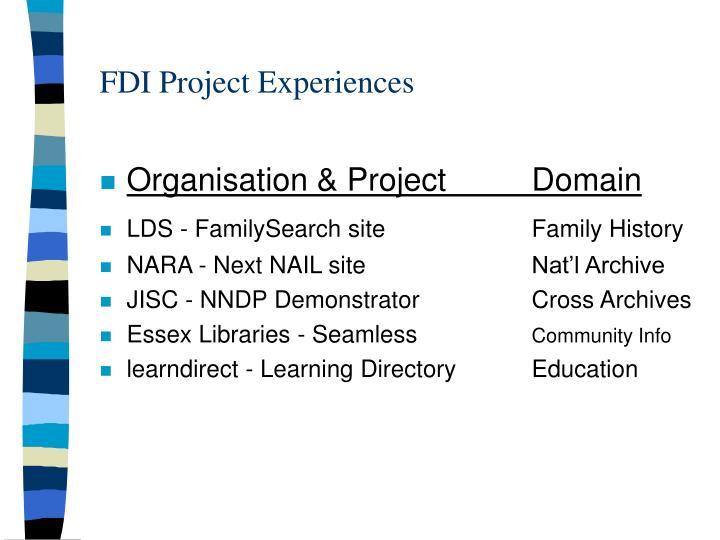 FDI Project Experiences