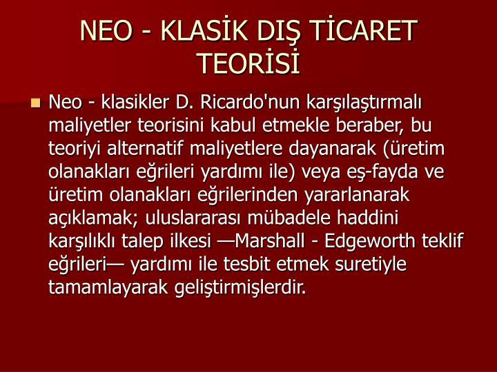 NEO - KLASK DI TCARET TEORS