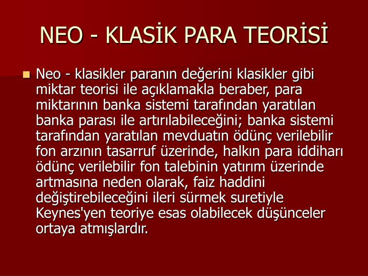 NEO - KLASK PARA TEORS