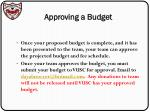 approving a budget