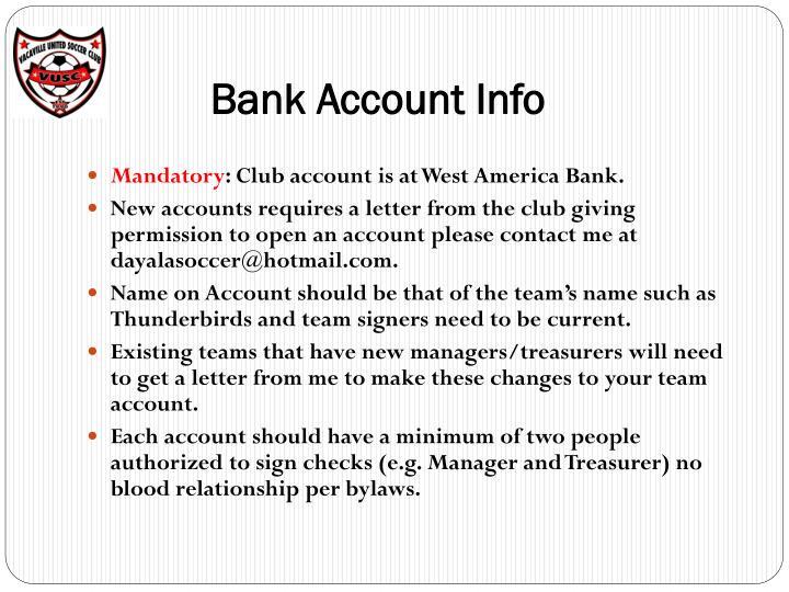 Bank Account Info