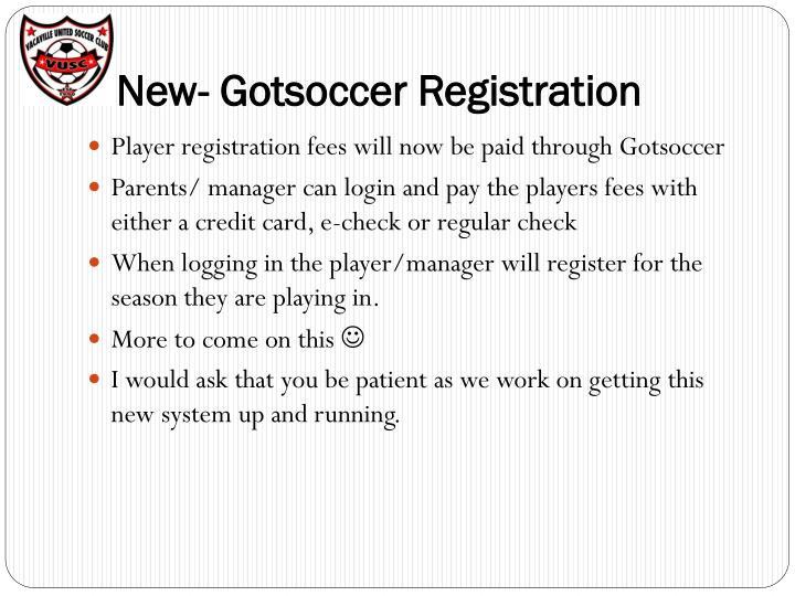 NNew- Gotsoccer Registration
