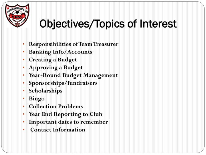 Objectives topics of interest