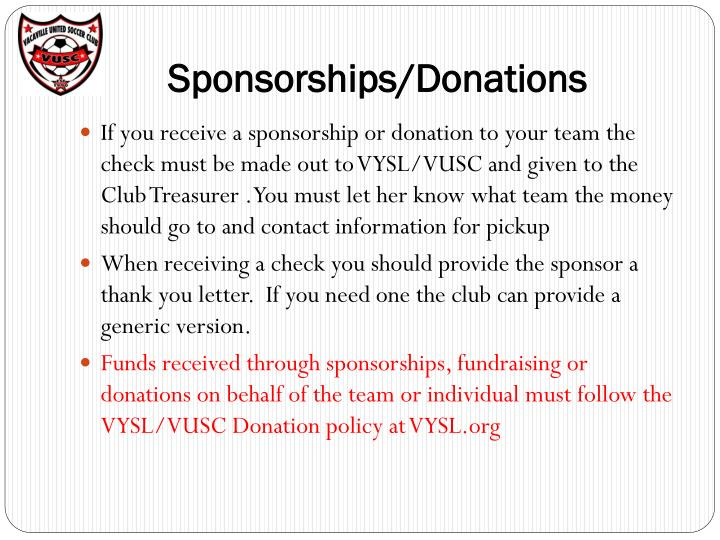 Sponsorships/Donations