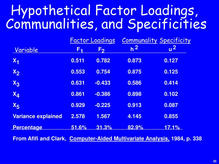 Hypothetical Factor Loadings,