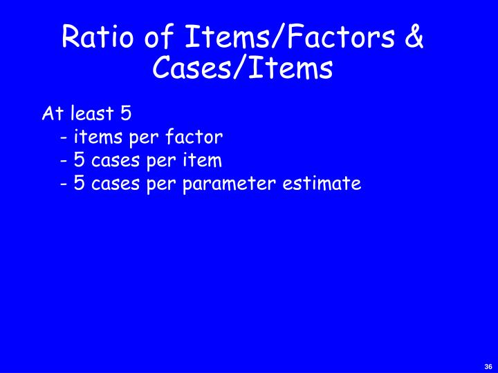 Ratio of Items/Factors &