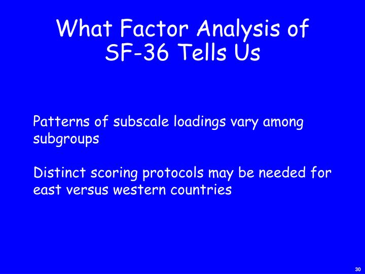 What Factor Analysis of