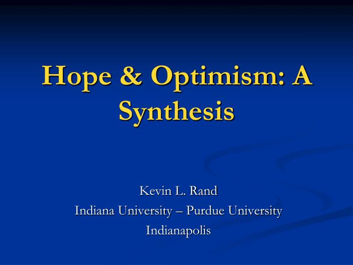Hope optimism a synthesis