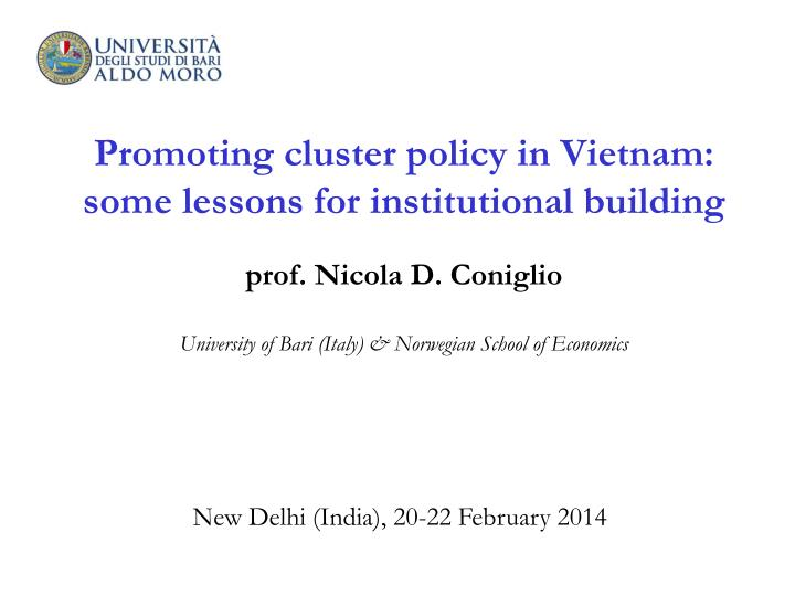 Promoting cluster policy in Vietnam: some lessons for institutional building