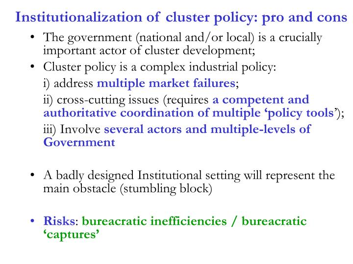 Institutionalization of cluster policy: pro and cons