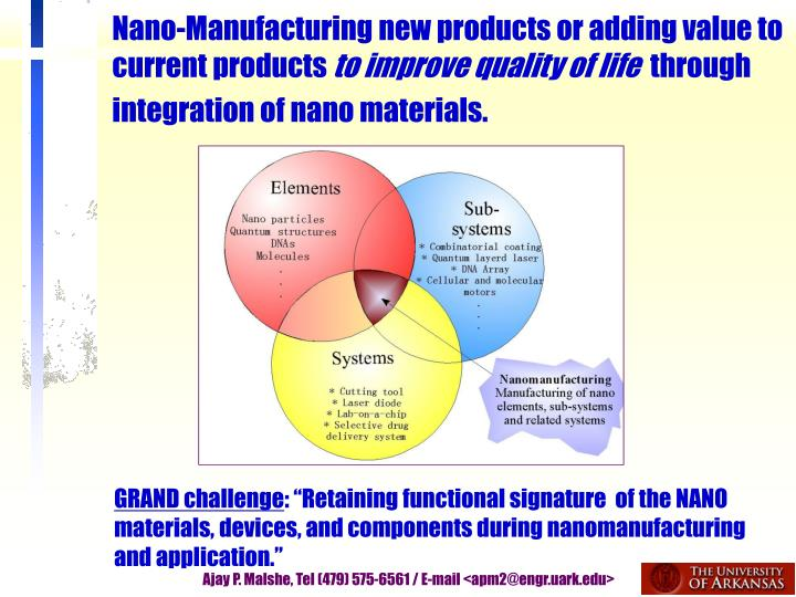 Nano-Manufacturing new products or adding value to current products