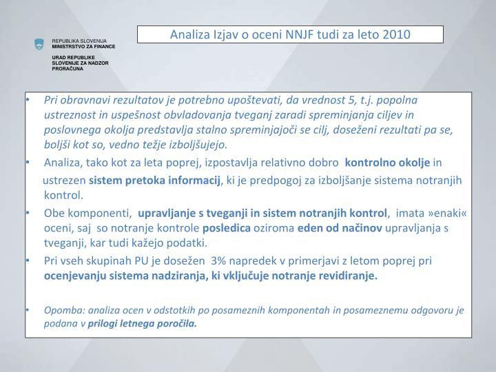 Analiza Izjav o oceni NNJF tudi za leto 2010