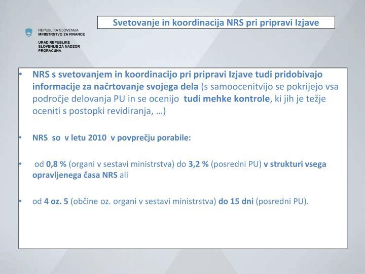 Svetovanje in koordinacija NRS pri pripravi Izjave