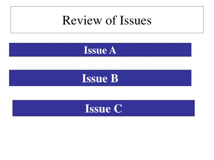 Review of Issues