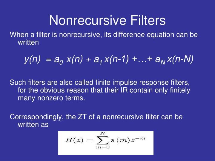 Nonrecursive Filters