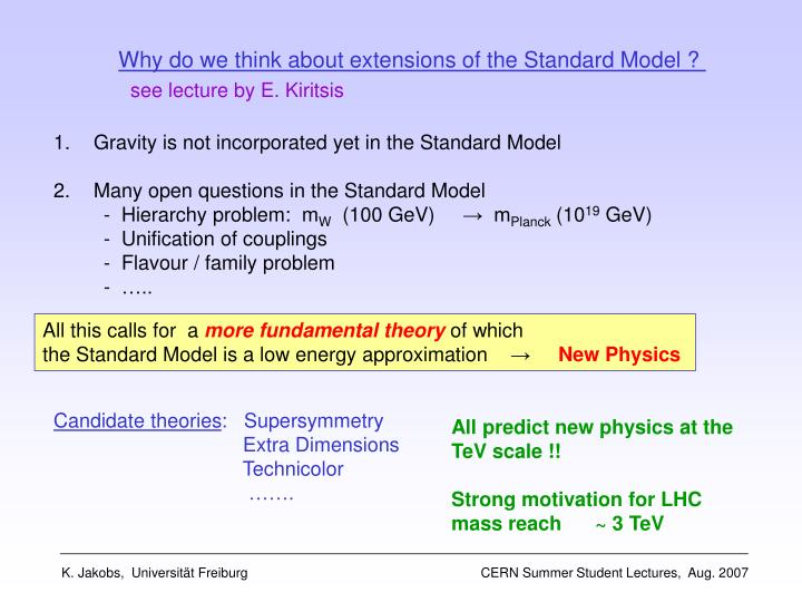 Why do we think about extensions of the Standard Model ?