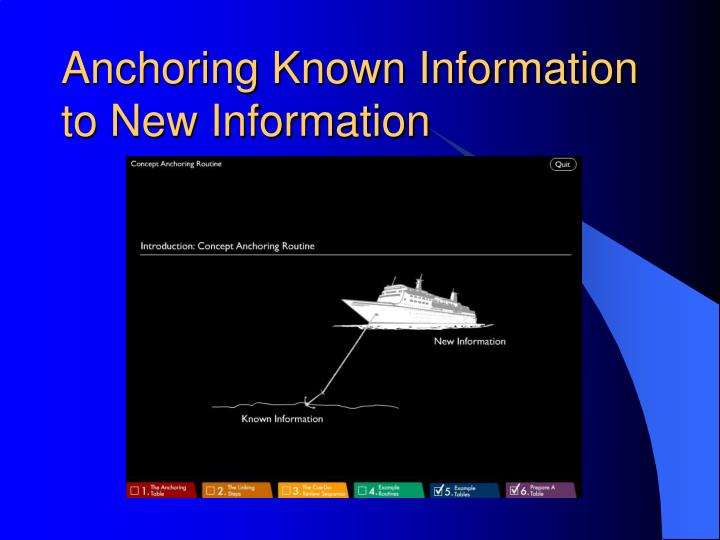 Anchoring Known Information to New Information