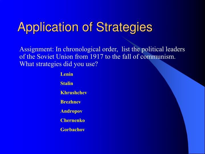 Application of Strategies