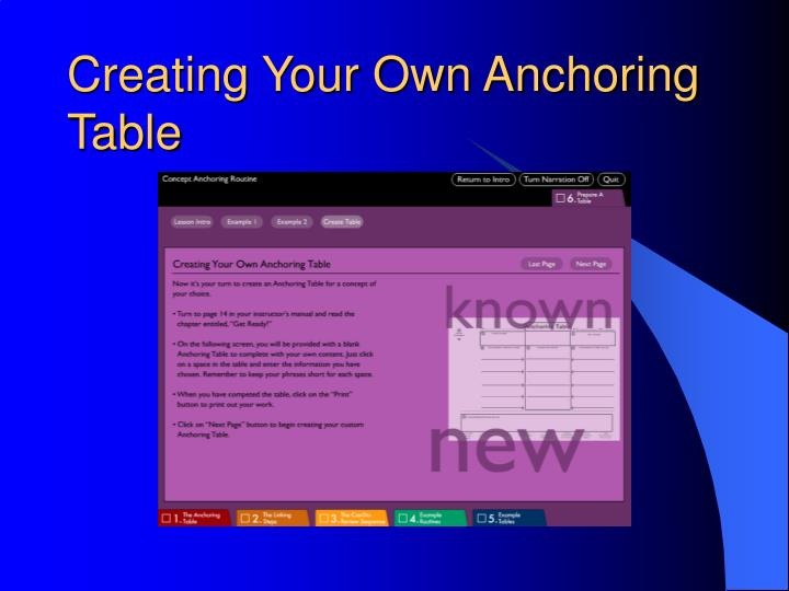 Creating Your Own Anchoring Table