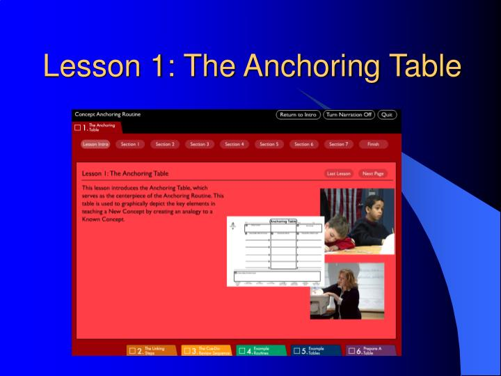 Lesson 1: The Anchoring Table