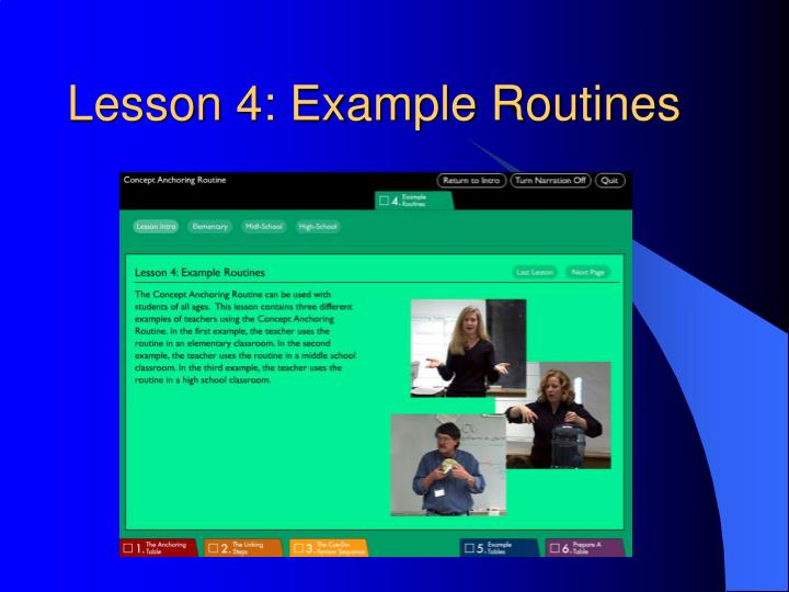 Lesson 4: Example Routines
