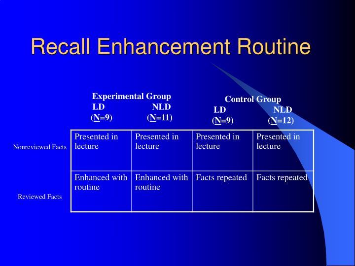 Recall Enhancement Routine