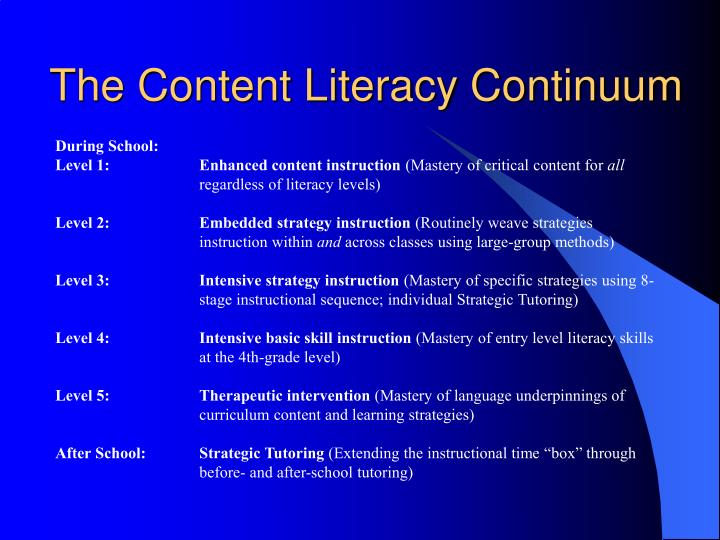 The Content Literacy Continuum