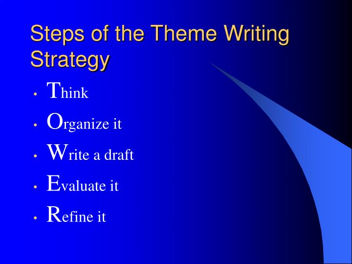 Steps of the Theme Writing Strategy