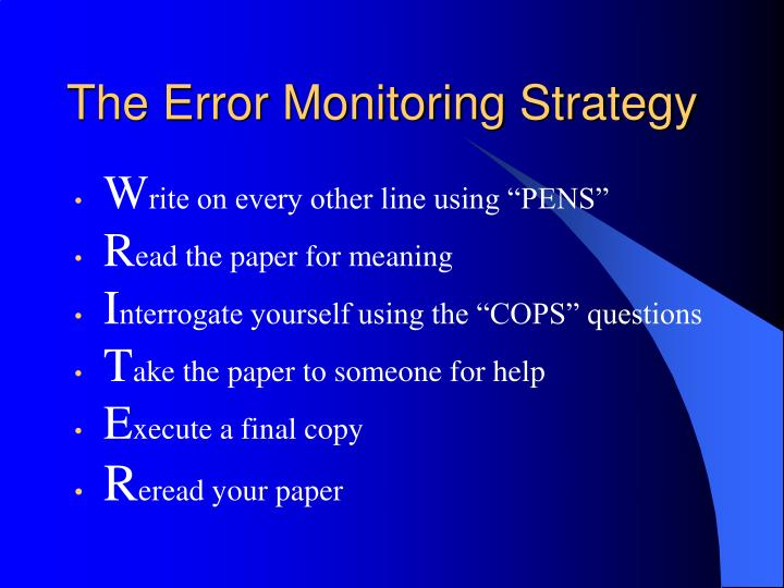 The Error Monitoring Strategy