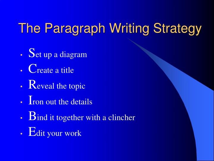 The Paragraph Writing Strategy