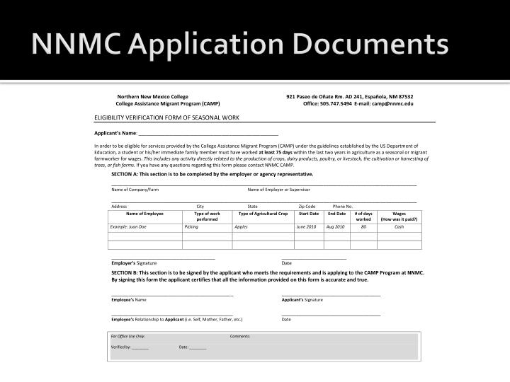 NNMC Application Documents