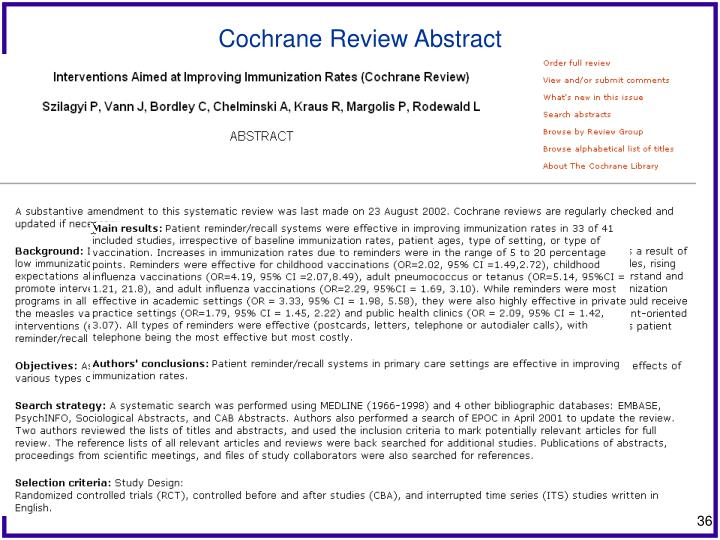 Cochrane Review Abstract