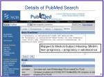 details of pubmed search
