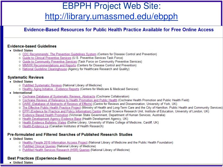 EBPPH Project Web Site: