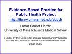 evidence based practice for public health project http library umassmed edu ebpph1
