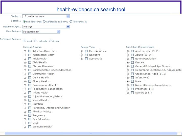 health-evidence.ca search tool