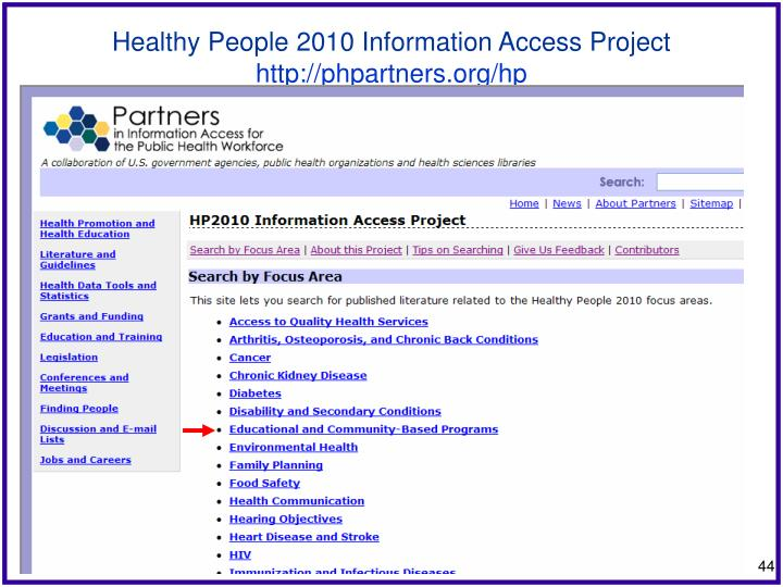 Healthy People 2010 Information Access Project