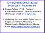 identifying evidence based practices in public health