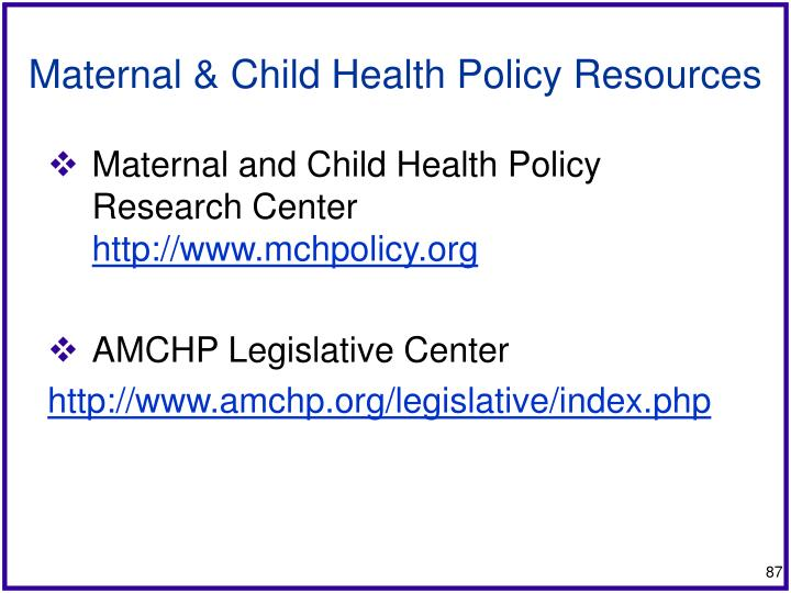 Maternal & Child Health Policy Resources