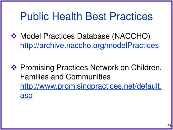 Public Health Best Practices