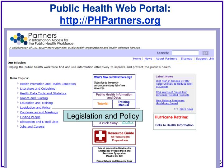 Public Health Web Portal: