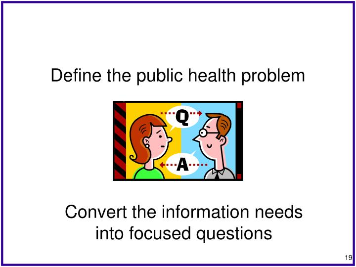 Define the public health problem
