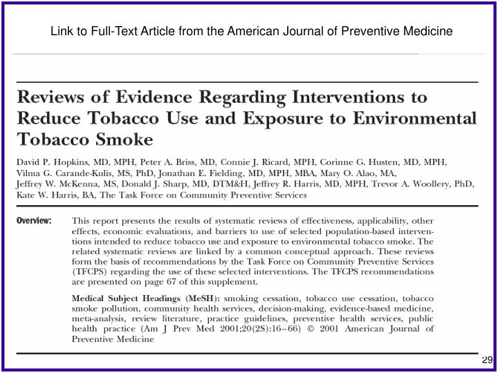 Link to Full-Text Article from the American Journal of Preventive Medicine
