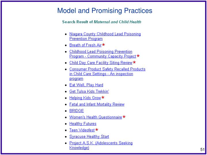 Model and Promising Practices